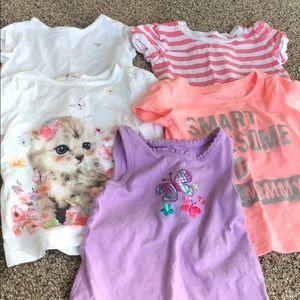 Set of 5 toddler girl tops.